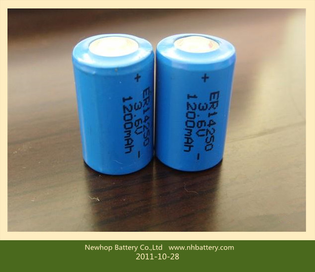 no rechargeable Lithium battery 3.6V 1/2AA 1.2A pin type primary lithium battery 3.6v 1/2AA 1200mah pin type ER14250 battery lithium battery er14250 3.6v lithium battery