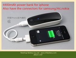 4400mah power bank for iphone,samsung,htc and nokia phones perfect surface design and smoothly touching external battery 4400mah for iphone/samsung/htc/nokia